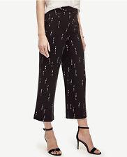 Ann Taylor - Size 0 (XS) Black Stitched Stripe Wide Cropped Leg Pants $98 (H)