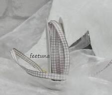 4m Schleifenband (0,25 €/m) Vichy Landhaus kariert 5mm grau weiß Dekoband