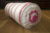 Laura Ashley Bolster Cushion.  Forbury Stripe Cerise . Complete feather Bolster
