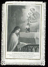 ANTIQUE LACE HOLY CARD PRAYER TO ST JOSEPH AND JESUS
