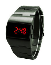 Vintage Styling Red LED Gunmetal Black Digital Fat Chunk Asymmetric Steel Watch