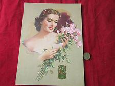 Vintage 1940's Pin up  PEARL FRUSH  Print & Original Extrait  Fleurs Label J&E