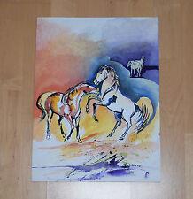 AQUARELL PFERDE UNIKAT Malerei Bild Gemälde Kunst Watercolor Signiert 30 x 40
