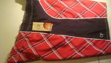 Men's Teen BOARD Beach Swim Shorts Black & Red Plaid OP NEW Long Sz 3XL (48-48)