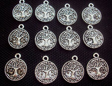 10 Tree of Life Charms Pagan Wiccan Silver Tone Metal
