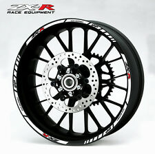 ZX-R Ninja motorcycle wheel decals 12 rim stickers set zx6r zx9r zx10r white