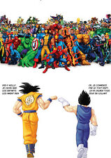 POSTER A4 PLASTIFIE(1 FREE/1 GRATUIT)*MANGA DRAGON BALL Z.GOKU VEGETA VS MARVEL.