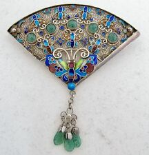 """2.9"""" Antique Chinese Silver & Enamel Brooch with Butterfles & Green Jadeite Jade"""