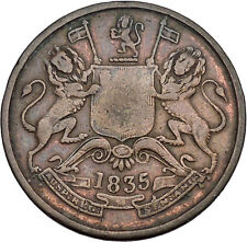 1835 Colonial East India Company British William IV Half Anna Coin Bombay i45055