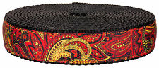 Country Brook Design® 1 Inch Fire Paisley on Black Nylon Webbing, 5 Yards