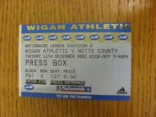 11/12/2001 Ticket: Wigan Athletic v Notts County [Press Box] . Bobfrankandelvis