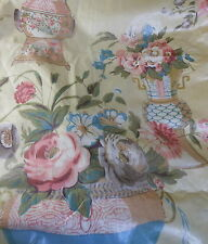 Vintage French Chintz Chinoisore Floral Vases Fabric ~Pink Blue Lavender Yellow