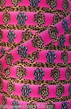 "5 Yards 7/8"" INTO THE WILD ZEBRA LEOPARD PAW GROSGRAIN Ribbon 4 HAIRBOW FOOTBALL"