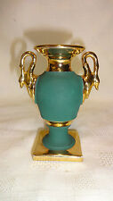 Vintage Limoges Authentique 9.5cm Urn Vase - Jade With Gold Gilding