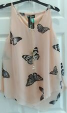 Womens Ladies Chiffon Tiered Layer Cami  Butterfly Vest Top Shirt SIZE 8-24