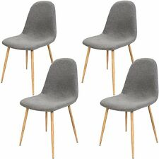 Retro Chair Set Fabric 4 x Dining Seat Chairs Backrest Modern Furniture Grey
