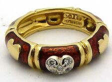 HIDALGO 18K Gold Red Enamel and Diamond Heart Ring Sz 6