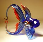 "Blown Glass ""Murano"" Art Figurine Blue and Red FISH with Arched Tail"