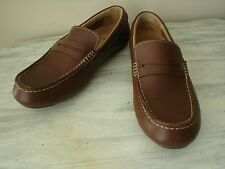 Clarks Men Brown Leather Moc Apron Toe Driving Penny Loafer Casual Shoe 7.5M EUC