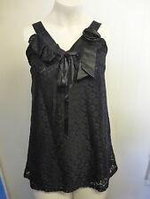 Gorgeous Black Lined Sleeveless Corsage Top by PussyCat - Size Small - BNWOT!