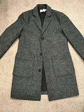 Topman Grey Wool Single Breasted Overcoat Size Small RRP £79.99