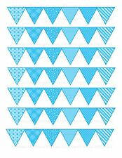 edible cake ribbon decorating icing Bunting bright baby blue mixed patterns
