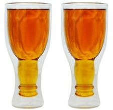 (2 Pack) Double Wall UPSIDE DOWN BEER GLASS ~Keep your drinks COLD! Unique Gift!