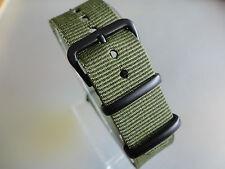 Uhrenarmband Nylon grün olive 20 mm NATO BAND schwarze Dornschließe Textil