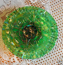 """RARE FENTON GREEN CARNIVAL GLASS """"LIONS""""  FOOTED PLATE...MUST SEE! ICGA 1992"""