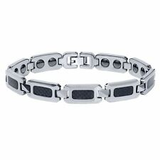 NEW Men's High Polished Tungsten Carbide Bracelet with Black Carbon Fiber Inlay