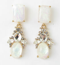 White Blush Pink Faux Fire Opal Gold Earrings Drop Art Deco Silver 1920s Vtg 304
