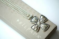 "Silpada NEW ""Posh Principles"" Etched Sterling Silver Cross Necklace 32"" N3185"