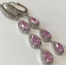 Pink Topaz White Topaz long dangle Leverback earrings 925 silver