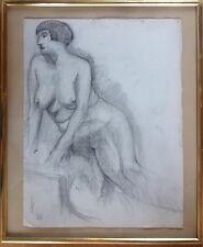 Daniel BIGER 1895-198... .Femme nue assise.Pierre noire.65x45.Circa 1930.Cachet.