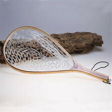 Wooden Handle Fly Fishing Landing Net Mesh Trout Clear Rubber Catch P