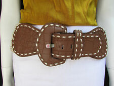 Women Hip High Waist Off White Braided Brown Fashion Wide Belt Big Buckle S M