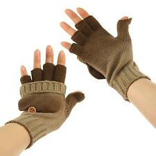 Ladies Winter Ombre Flip Fingerless Thumb Slit Touch Screen Mitten Gloves Taupe