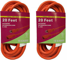 2x 20FT Orange Indoor Outdoor Extension Electric Power Cord Cable 16 Gauge BN220