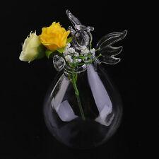 Transparent Glass Home Decoration Furnishing Angel Shape Flower Plant Vase LO