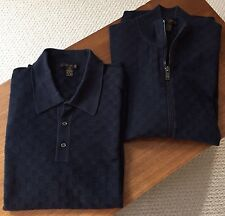 Rare Authentic Louis Vuitton Men's Navy Polo and Zip Sweater Set, XL, New