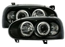 PHARES FEUX AVANT ANGEL EYES NOIR MOD 1 LED VW VOLKSWAGEN GOLF 3 VR6 GT GTI