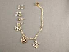 "Gold Ships Wheel Anchor Boating stud earrings ear Cuff 6.5"" long chain dangle"