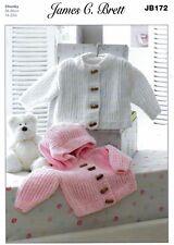 """Flutterby Chunky Baby Jacket & Hoody Knitting Pattern - J Brett (14""""-22"""") JB 172"""