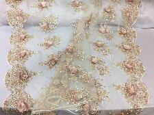 Majesty Design 3D Flower Mesh Lace Fabric Beaded Bridal Champagne. Sold By Yard