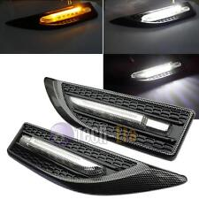 Universal Carbon Fiber White / Amber Dual-Color LED Side Marker Courtesy Lights