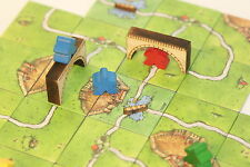 Board game tokens, solid wood 'bridges and ferries' ideal for Carcassonne'.