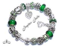 Authentic Pandora Silver 925 Charm Bracelet European Charms Love Green of Hearts