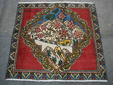 An OLD HANDMADE PERSIAN Pictorial Oriental wool Multi-Colour Rug 74x80cm