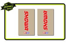 SHOWA SFF UPPER FORK MOTOCROSS MX GRAPHICS DECALS STICKERS RED/WHT ON CLEAR