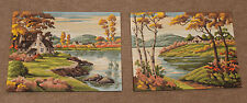 """2 Piece Lot  1960's Vintage  """" Paint by Number """" Paintings  """" AUTUMN LAKE """""""